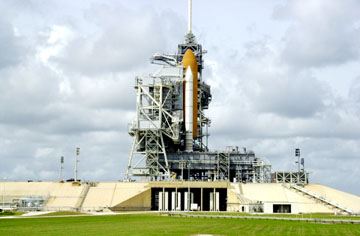 כן השיגור, כשמבנה השירות המסתובב שלו סגור